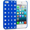 Apple iPhone 5/5S/SE Blue Handwoven Hard Rubberized Back Cover Case Angle 1