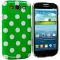 Samsung Galaxy S3 Green / White Polka Dot Hard Rubberized Back Cover Case Angle 2