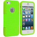 Apple iPhone 5/5S/SE Neon Green / Neon Green Hybrid Mesh Hard/Soft Case Cover Angle 1
