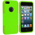 Apple iPhone 5/5S/SE Neon Green / Neon Green Hybrid Mesh Hard/Soft Case Cover Angle 2