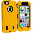 Apple iPhone 5C Yellow / Black Hybrid Deluxe Hard/Soft Case Cover Angle 1