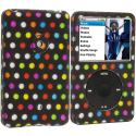 Apple iPod Classic Colorful dots on Black Hard Rubberized Design Case Cover Angle 1