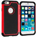 Apple iPhone 6 6S (4.7) Black / Red Hybrid Rugged Hard/Soft Case Cover Angle 1