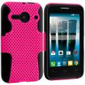Alcatel One Touch Evolve 2 Black / Hot Pink Hybrid Mesh Hard/Soft Case Cover Angle 1