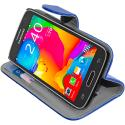 Samsung Galaxy Avant G386 Blue Leather Wallet Pouch Case Cover with Slots Angle 5