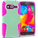 Samsung Galaxy Avant G386 Hot Pink / Mint Green Hybrid Mesh Hard/Soft Case Cover Angle 1