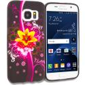 Samsung Galaxy S7 Pink Flower Explosion TPU Design Soft Rubber Case Cover Angle 1