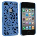Apple iPhone 4 / 4S Blue Rose Hard Rubberized Back Cover Case Angle 1