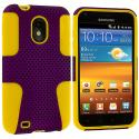 Samsung Epic Touch 4G D710 Sprint Galaxy S2 Yellow / Purple Hybrid Mesh Hard/Soft Case Cover Angle 1