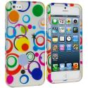 Apple iPhone 5/5S/SE Colorful Circle on White Hard Rubberized Design Case Cover Angle 1