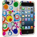 Apple iPhone 5/5S/SE Colorful Circle on White Hard Rubberized Design Case Cover Angle 2