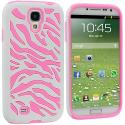 Samsung Galaxy S4 Hot Pink / White Hybrid Zebra Hard/Soft Case Cover Angle 1