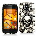 ZTE Force N9100 Black White Skulls Hard Rubberized Design Case Cover Angle 1