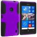 Nokia Lumia 520 Black / Purple Hybrid Mesh Hard/Soft Case Cover Angle 1