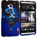 HTC One Max Blue Skulls Hard Rubberized Design Case Cover Angle 1