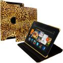 Amazon Kindle Fire HDX 7 Yellow Leopard 360 Rotating Leather Pouch Case Cover Stand Angle 1