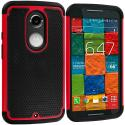 Motorola Moto X 2nd Gen Black / Red Hybrid Rugged Grip Shockproof Case Cover Angle 1