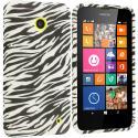 Nokia Lumia 630 635 Black White Zebra TPU Design Soft Rubber Case Cover Angle 1