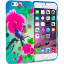 Apple iPhone 6 6S (4.7) Blue Bird Pink Flower TPU Design Soft Rubber Case Cover Angle 1