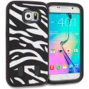 Samsung Galaxy S6 Zebra Black Hybrid Deluxe Hard/Soft Case Cover Angle 1