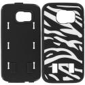 Samsung Galaxy S6 Zebra Black Hybrid Deluxe Hard/Soft Case Cover Angle 8