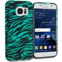 Samsung Galaxy S7 Black/Baby Blue Zebra TPU Design Soft Rubber Case Cover Angle 1