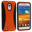 Samsung Epic Touch 4G D710 Sprint Galaxy S2 Black / Orange Hybrid Hard/TPU Case Cover Angle 1