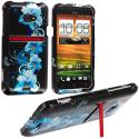 HTC EVO 4G LTE Blue Flowers Design Crystal Hard Case Cover Angle 1
