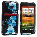 HTC EVO 4G LTE Blue Flowers Design Crystal Hard Case Cover Angle 2
