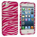 Apple iPhone 5/5S/SE Pink / White Zebra Hard Rubberized Design Case Cover Angle 1