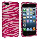 Apple iPhone 5/5S/SE Pink / White Zebra Hard Rubberized Design Case Cover Angle 2