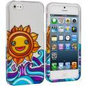 Apple iPhone 5 Sunrise on the Sea Hard Rubberized Design Case Cover Angle 1