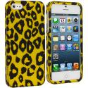 Apple iPhone 5/5S/SE Black Leopard on Golden Hard Rubberized Design Case Cover Angle 1