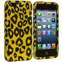 Apple iPhone 5/5S/SE Black Leopard on Golden Hard Rubberized Design Case Cover Angle 2