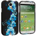 Samsung Galaxy S4 Blue Flower Hard Rubberized Design Case Cover Angle 1