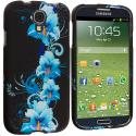 Samsung Galaxy S4 Blue Flower Hard Rubberized Design Case Cover Angle 2