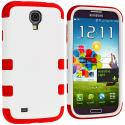 Samsung Galaxy S4 Red / White Hybrid Tuff Hard/Soft 3-Piece Case Cover Angle 2