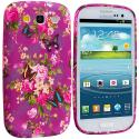 Samsung Galaxy S3 Purple Mixed Flower TPU Design Soft Case Cover Angle 1