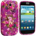 Samsung Galaxy S3 Purple Mixed Flower TPU Design Soft Case Cover Angle 2