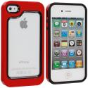 Apple iPhone 4 / 4S Black / Red Hybrid TPU Bumper Case Cover Angle 1