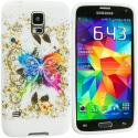 Samsung Galaxy S5 Colorful Butterfly TPU Design Soft Case Cover Angle 2