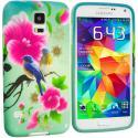 Samsung Galaxy S5 Blue Bird Pink Flower TPU Design Soft Case Cover Angle 1