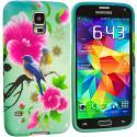 Samsung Galaxy S5 Blue Bird Pink Flower TPU Design Soft Case Cover Angle 2
