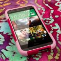 HTC One M8 - Hot Pink-Pink MPERO IMPACT X - Kickstand Case Cover Angle 2