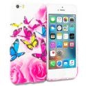 Apple iPhone 5/5S/SE Pink Colorful Butterfly TPU Design Soft Rubber Case Cover Angle 1