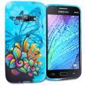 Samsung Galaxy J1 2016 Amp 2 Blue Butterfly Flower TPU Design Soft Rubber Case Cover Angle 1