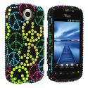 HTC Mytouch 4G Slide Colorful Peace Sign Bling Rhinestone Case Cover Angle 1