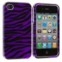 Apple iPhone 4 / 4S Black / Purple Zebra Design Crystal Hard Case Cover Angle 1