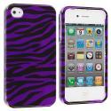 Apple iPhone 4 / 4S Black / Purple Zebra Design Crystal Hard Case Cover Angle 2