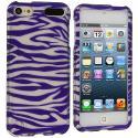 Apple iPod Touch 5th 6th Generation Purple/ White Zebra Hard Rubberized Design Case Cover Angle 1